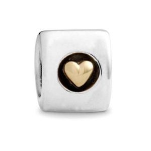 Pandora 14k Gold & Silver Heart of Gold Charm